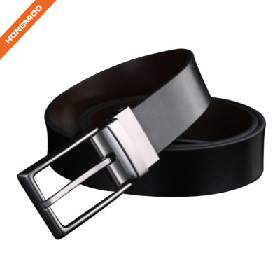 Black Imitation Leather Reversible Pin Buckle Belt Men