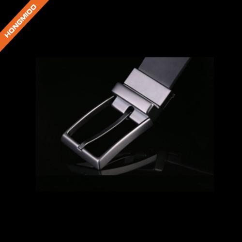 Black Imitation Leather Reversible Pin Buckle Belt Men
