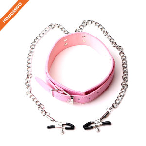 Metal Adjustable Clamps Leather Collars Chains Dress Accessories