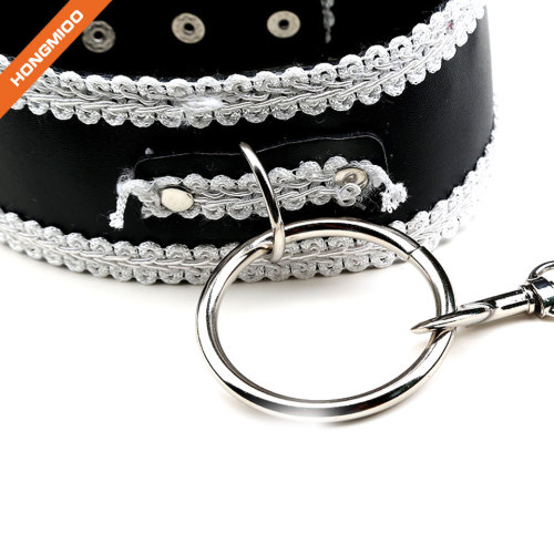 Adjustable PU Leather Choker Necklace Padded Neck Collar