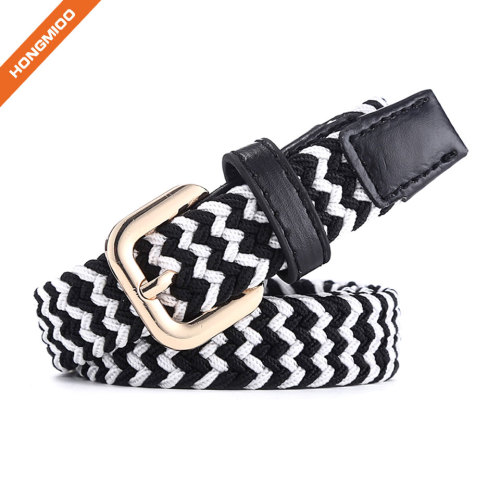 Braided Woven Elastic Stretch Belt With Matching Leather Covered Buckle