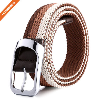 Braided Stretch Elastic Belt with Pin Oval Solid Black Buckle