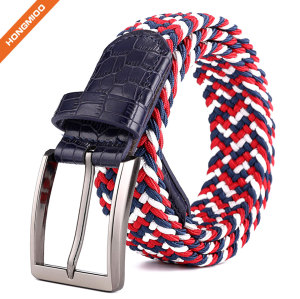 Metal Buckle Brown Inlay Elastic Braided Woven Stretch Belt