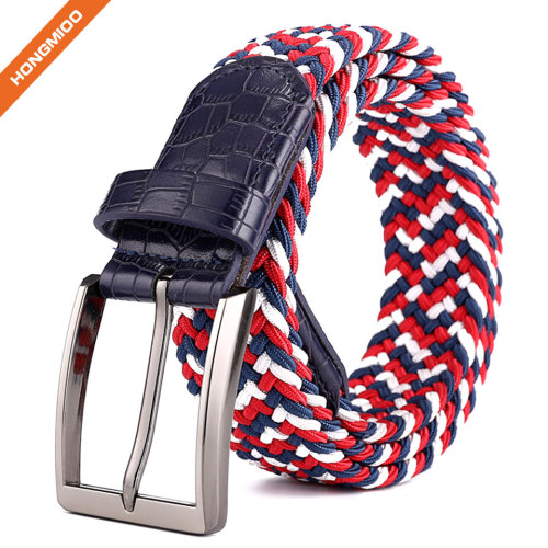 Metal Buckle Brown Inlay Elastic Braided Woven Stretch Belt