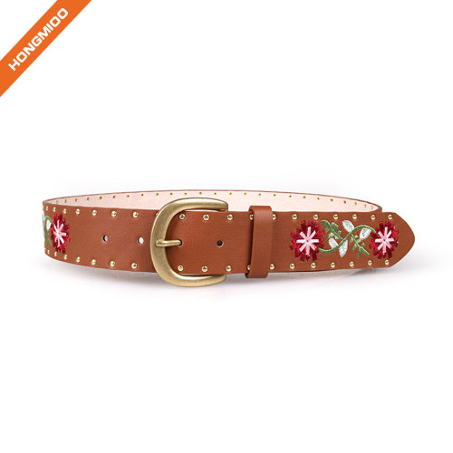 Ethnic Style Pu Embroidery Retro Belt With Rivets