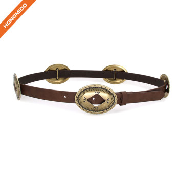 Ladies Decoration Carved Waist Belt Leather Belt For Jeans Pants Wide Belt for Ladies