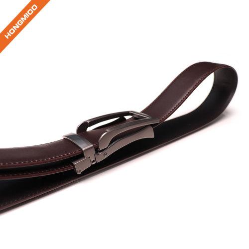Belt Manufacturer Custom Design Men Ratchet Genuine Leather Belt with Silver Automatic Buckle
