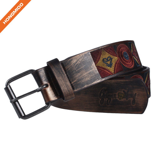 Hongmioo Pin Buckle Embroidery Pu Leather Belt