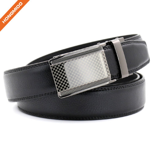Hongmioo New Technology Comfort Click Buckle Split Leather Ratchet Belt with Custom Logo