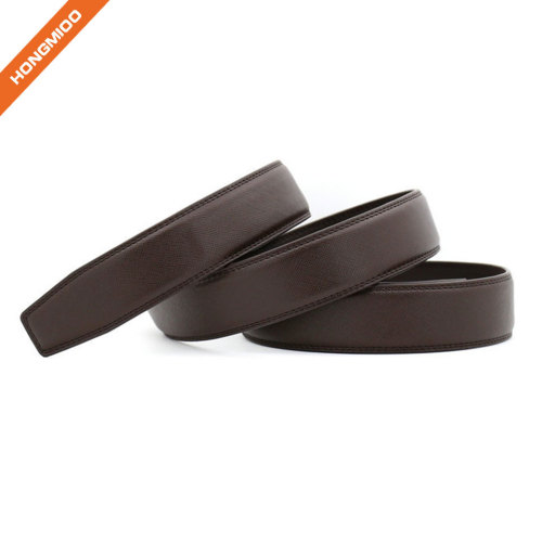 Hongmioo Mens Cross Lines PU Automatic Belt Strap without Buckle