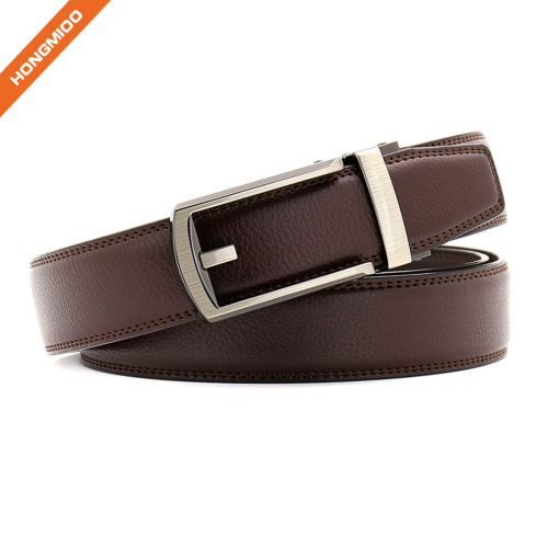 Custom Wholesale Black Brwon New Automatic Buckle Fake Leather PU Ratchet Belt