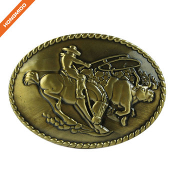 Factory Custom Zinc Alloy Brass Sizes Logo Fashion Western Buckle for Cowboy