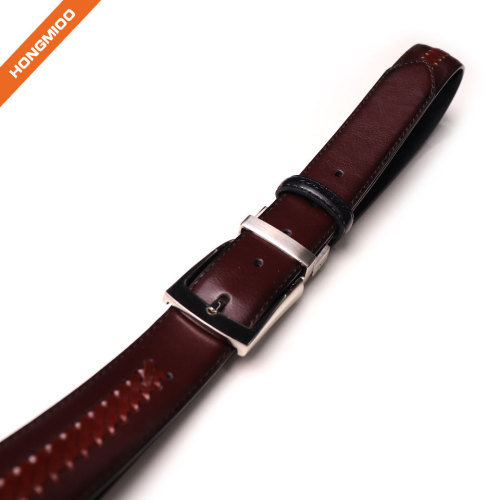 Leather Belt Casual for Mens Jeans with Double Sided Strap and Silver Buckle