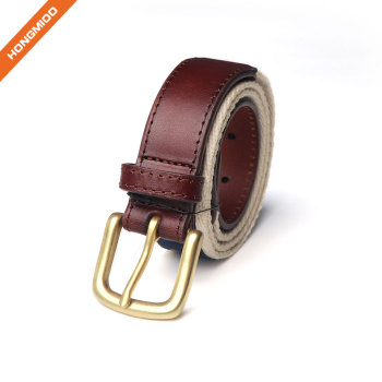 Men's Ribbon Inlay Belt  Ribbon Fabric Design with Single Prong Buckle
