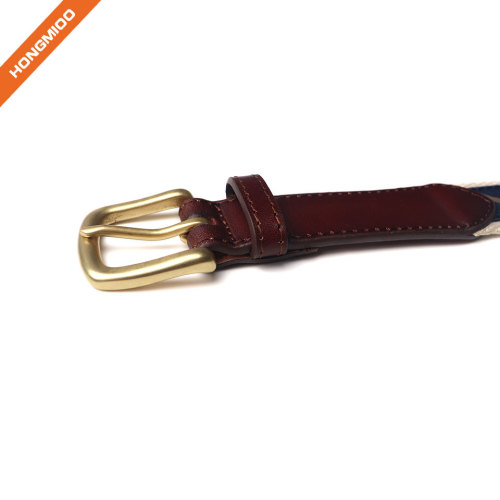 Men's Ribbon Inlay Belt  Ribbon Fabric Design with Single Prong Buckle