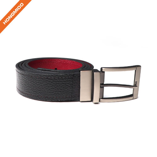 Reversible Leather Belts For Men With Rotated Metal Buckle Women Narrow Jeans Belt