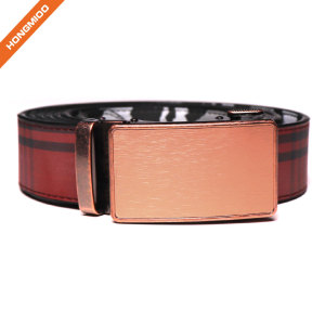 Fashion Men's Genuine Split Leather Belt Ratchet Dress Belt with Automatic Buckle by Big Sale