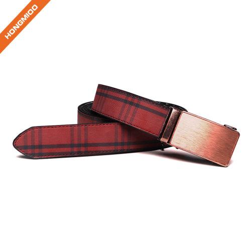 Fashion Men's Genuine Split Leather Belt Ratchet Dress Belt with Automatic Buckle by Big Sale