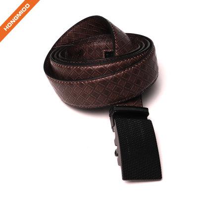 Men's Basketweave 1.5 Inch Wide Genuine One Piece Leather Utility Uniform Work Belt