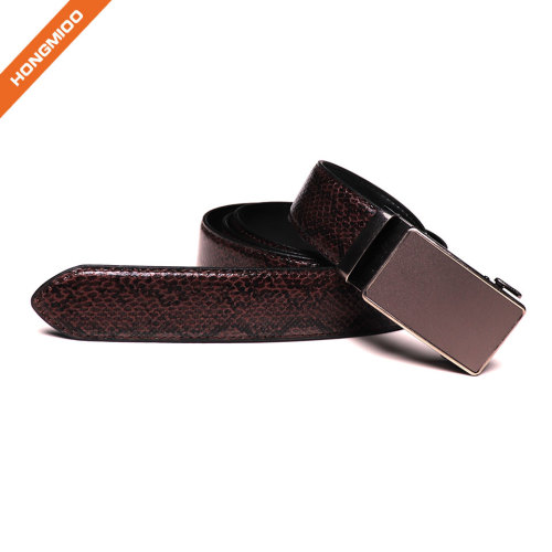 Men Automatic Buckle Ratchet Belt Leather Snake Skin Embossed Exact Fit Gift