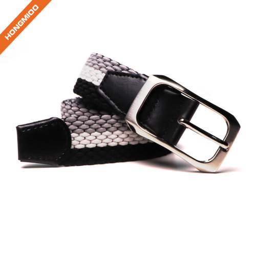 Braided Elastic Fabric Woven Stretch Belt Leather Inlay Multi Color Options