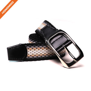 Braided Woven Elastic Stretch Belt With Matching Prong Buckle With Leather Ends
