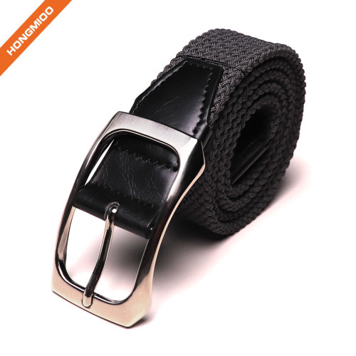 Men's Casual Belt Fabric And Leather Strap With Classic Single Prong Buckle
