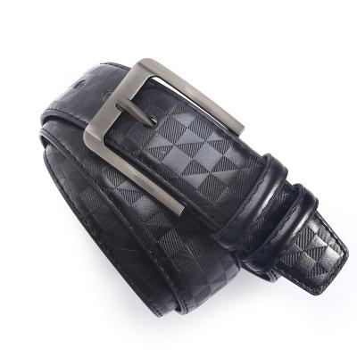 Plaid Fashion Pin Buckle Microfiber Leather Belt for Men