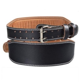 Powerlifting Belt/Weight Lifting Belt/Padded PU Leather Waist Belt Double Prong-4.1-inch Wide Power Back Support for Weightlifting, Strength Training, Strongman - Men & Women