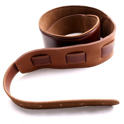 Classic Italy Full Grain Leather Stitched Adjustable Guitar Strap for Electric, Acoustic and Bass Guitars