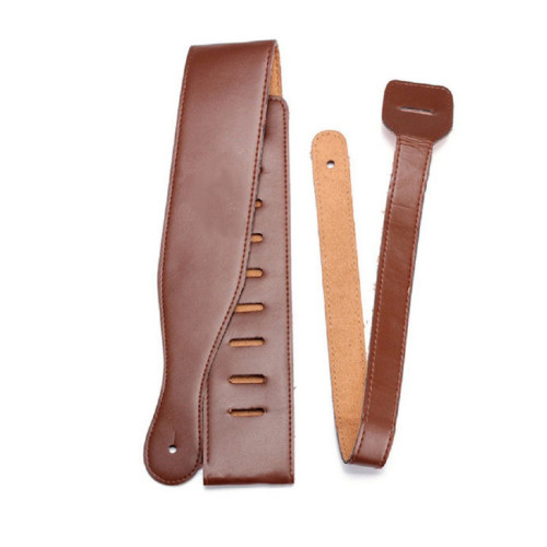 Pu Leather Stitched Adjustable Guitar Strap for Electric, Acoustic and Bass Guitars