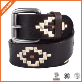 New Design Classic Handmade Popuar Men's Embroidery Leather Belt