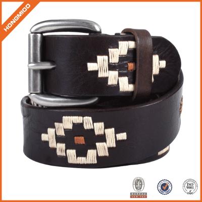 New Design Classic Handmade Popuar Men's Embroidery Leather Belt