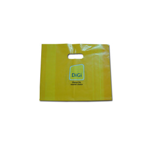 Shopping bag colored plastic die cut handle bag