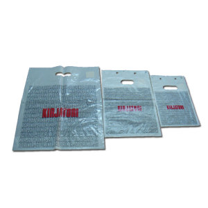 Reusable fashionable plastic die cut handled bag