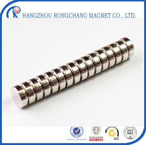 N48 diametrically magnetized cylinder neodymium magnet 5*2 mm with Ni coating