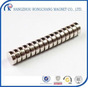 N48 diametrically magnetized cylinder neodymium magnet 5*2 mm with Ni coating