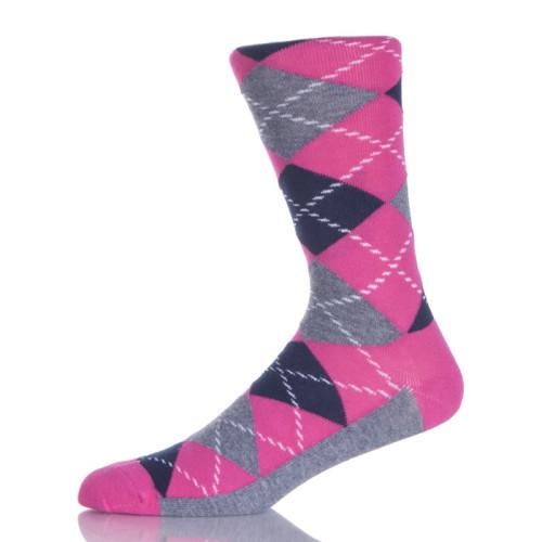 Grey And Pink Argyle Socks