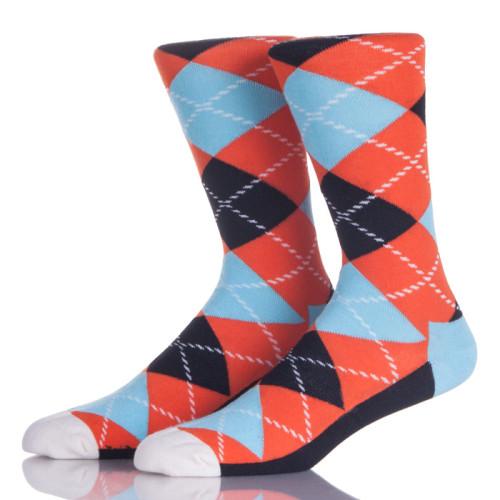 Orange And Blue Argyle Socks