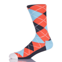Orange And Blue Argyle Socks