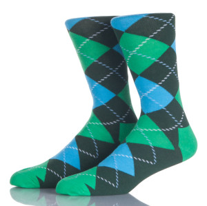 Blue And Green Argyle Socks