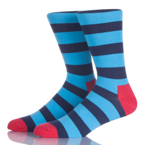 Blue Striped Men Crew Socks