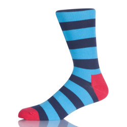 Blue Striped Men Crew Socks