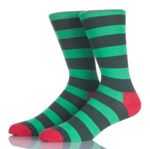 Green Striped Men Crew Socks
