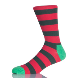 Green And Red Stripes Men Sock