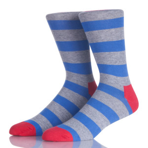 Blue And Grey Stripes Men Sock