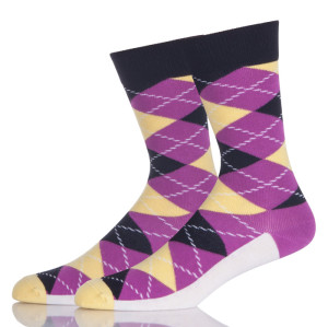 Purple And White Argyle Socks