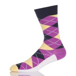 Purple And White Argyle Socks