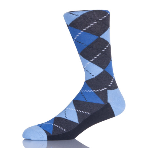 Blue Argyle Pattern Men Socks