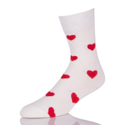 White Sock With Red Hearts